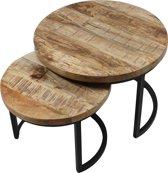 Vintagecarpet Vlojo - Ronde salontafel - Set van 2  - Hout, Metaal - 56x56x41 en 43x43x34 cm