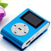 Mini clip MP3 speler FM radio met display Blauw en