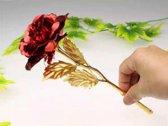 Gouden roos met  (ROOD)+ certificaat + luxe doos