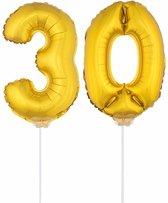 Gouden opblaas cijfer 30 op stokjes - verjaardag versiering / jaar