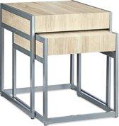 relaxdays - bijzettafel 2-delige set - koffietafel - salontafel - hout en metaal