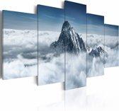 Schilderij - Bergtop in de wolken, blauw/wit, 5luik, 2 maten