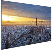 Skyline parijs bij zonsondergang Aluminium 30x20 cm - Foto print op Aluminium (metaal wanddecoratie)
