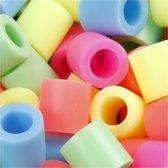 Strijkkralen, afm 10x10 mm, pastelkleuren, jumbo, 1000 assorti