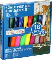 18x Acrylverf set in tubes 36 ml - Hobbyverf