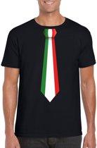 Zwart t-shirt met Italiaanse vlag stropdas heren - Italie supporter M