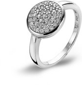 Twice As Nice ring in zilver, ronde met zirkonia Wit 62