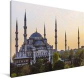 Zonsondergang in Istanbul Canvas 180x120 cm - Foto print op Canvas schilderij (Wanddecoratie woonkamer / slaapkamer) XXL / Groot formaat!