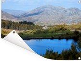 Het grauwe berglandschap van het nationaal park Peneda-Gerês in Portugal Tuinposter 40x30 cm - klein - Tuindoek / Buitencanvas / Schilderijen voor buiten (tuin decoratie)
