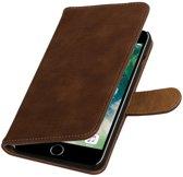 Bruin Hout booktype wallet cover hoesje voor Apple iPhone 7 Plus / 8 Plus