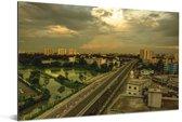 Gele tinten in de lucht boven Dhaka Aluminium 180x120 cm - Foto print op Aluminium (metaal wanddecoratie) XXL / Groot formaat!