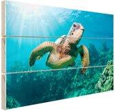Zwemmende schildpad fotoafdruk Hout 30x20 cm - klein - Foto print op Hout (Wanddecoratie)