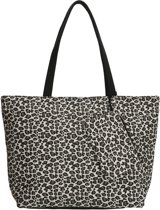 Beagles Panter Print Canvas Strandtas Shopper met Etui