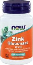 NOW Zink Gluconaat 50 mg - 100 Tabletten  - Mineralen