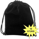Fako Bijoux® - Cadeau Zakjes - Velours - 10x12cm - Zwart - 10 Stuks