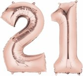 Folie ballon cijfer 21 rose goud