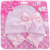 SOFT TOUCH - BABY Geschenkset Muts + Sokjes met Strik PINK (0-3 mnd)