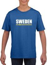 Blauw Zweden supporter t-shirt voor heren - Zweedse vlag shirts M (134-140)