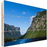 Bergen in het Nationaal park Gros Morne in Canada Vurenhout met planken 90x60 cm - Foto print op Hout (Wanddecoratie)