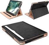 Apple iPad 9.7 (2017) / (2018) - Hoesje Leer Volledige 360 Graden Bescherming Zwart met Luxe Nude Binnenkant Hoes - Smart Bookcase voor iPad 9.7 2017 Case Cover Hoesje
