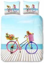 2 persoons dekbedovertrek met een kleurrijke fiets - 4819-P (200x200/220 cm + 2 slopen)