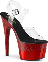 Pleaser Sandaal met enkelband -35 Shoes- ADORE-708-2HGM Wit/Rood