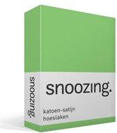 Snoozing - Katoen-satijn - Hoeslaken - Tweepersoons - 140x220 cm - Lime