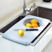 Snijplank met opvangbak | Ruimtebesparend | Kunststof keuken accessoire | Ruimtebesparend | Over-de-Gootsteen | Snijplankset | Lekbak | Vergiet | Plastic | Bak