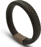Armband leer bruin mannen - dames met magnetische sluiting Galeara design Rix 19.5cm