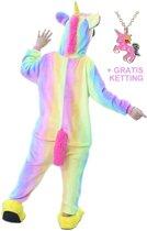 Eenhoorn Onesie Unicorn regenboog huispak kinderen - 128-134 (130)  + GRATIS ketting verkleedkleding jurk