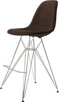 Design barkruk DD DSR barkruk upholstered donkerbruin kuipstoel