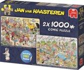 Jan van Haasteren Eet- en bakfestijn Puzzel 2 in 1 Taarten Toernooi en Zeebanket 2 x 1000 Stukjes