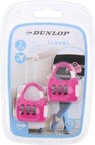 2x Roze reistassen bagagesloten met cijferslot