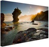 Zonsopgang strand Nieuw-Zeeland Canvas 30x20 cm - Foto print op Canvas schilderij (Wanddecoratie woonkamer / slaapkamer) / Zee en Strand