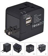 Wereldstekker met dubbele USB aansluiting voor alle landen in luxe mat zwarte uitvoering