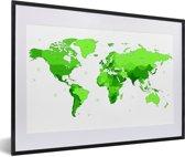 Foto in lijst - Felgroene wereldkaart fotolijst zwart met witte passe-partout 60x40 cm - Poster in lijst (Wanddecoratie woonkamer / slaapkamer)