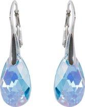 Zilveren Oorbellen met Swarovski Elements Aquamarine AB 16MM