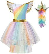 Eenhoorn jurk unicorn jurk eenhoorn kostuum - 116-122 (M) prinsessen jurk verkleedjurk regenboog + GRATIS haarband