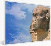 Foto in lijst - Zijaanzicht close up van de Sfinx van Gizeh fotolijst wit 40x30 cm - Poster in lijst (Wanddecoratie woonkamer / slaapkamer)