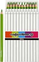 Colortime Kleurpotloden, vulling: 5 mm, lichtgroen, Jumbo, 12 stuks