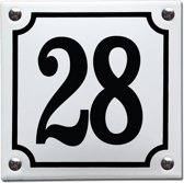 Emaille huisnummer wit/zwart nr. 28