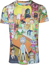 Rick and Morty All over Print Characters T-shirt Multicolor, Maat:  S