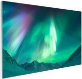 Prachtig noorderlicht boven de bergen Glas 30x20 cm - Foto print op Glas (Plexiglas wanddecoratie)