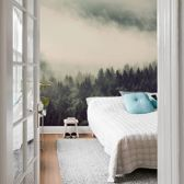Fotobehang Mist in het Bos 192x260 cm - topkwaliteit vliesbehang - Bomen behang natuur