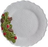 Bordallo Pinheiro Coroa de Natal Dinerbord - Kerst - Wit - Ø 29,2 cm - 2 stuks - Aardewerk