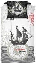 Damai Pirates kinder dekbedovertrek - Black - 1-persoons (140x200/220 cm + 1 sloop)