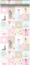 HD vliesbehang circus licht roze, licht blauw en beige - 138711 van ESTAhome nl