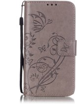 Shop4 - Samsung Galaxy S7 Hoesje - Wallet Case Vlinder Patroon Grijs