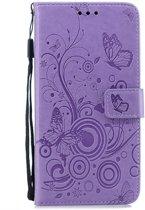Apple Iphone XR Bookcase hoesje Vlinders/takje (paars)