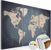 Afbeelding op kurk - Anthracitic World , Wereldkaart, Blauw/Grijs,3luik